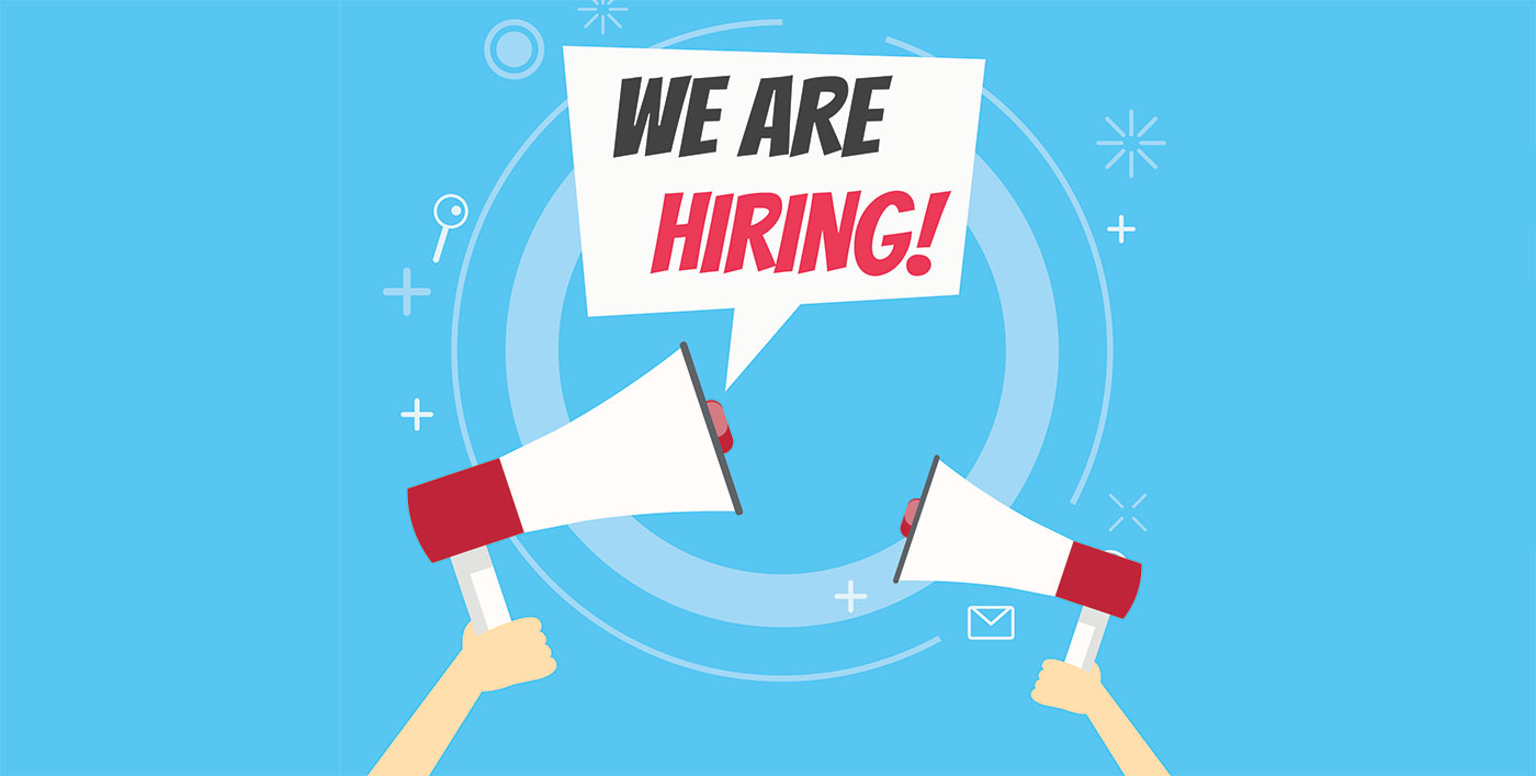 We are hiring banner. Blue background and hands holding a megaphone.